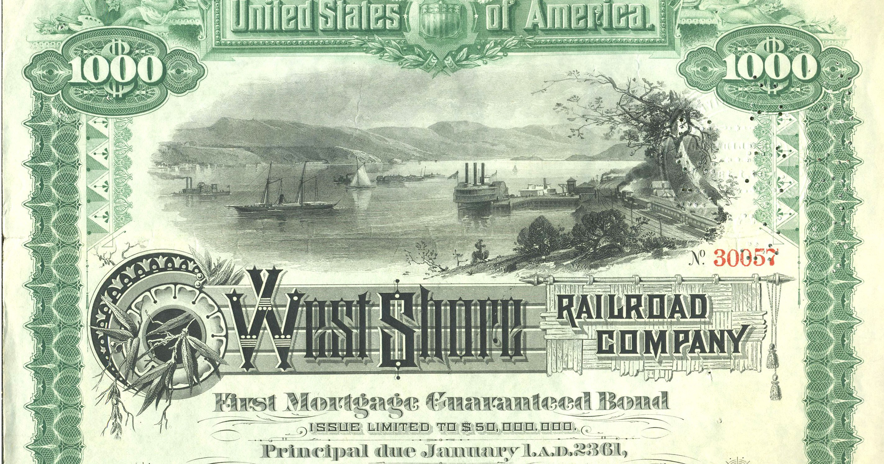 Garrison NY view on early Railroad Junk Bond, 1885
