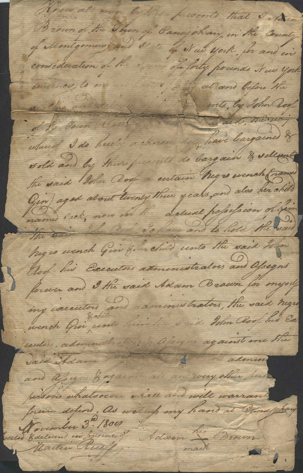 bill of sale of two negros from adam brown to john roof of the