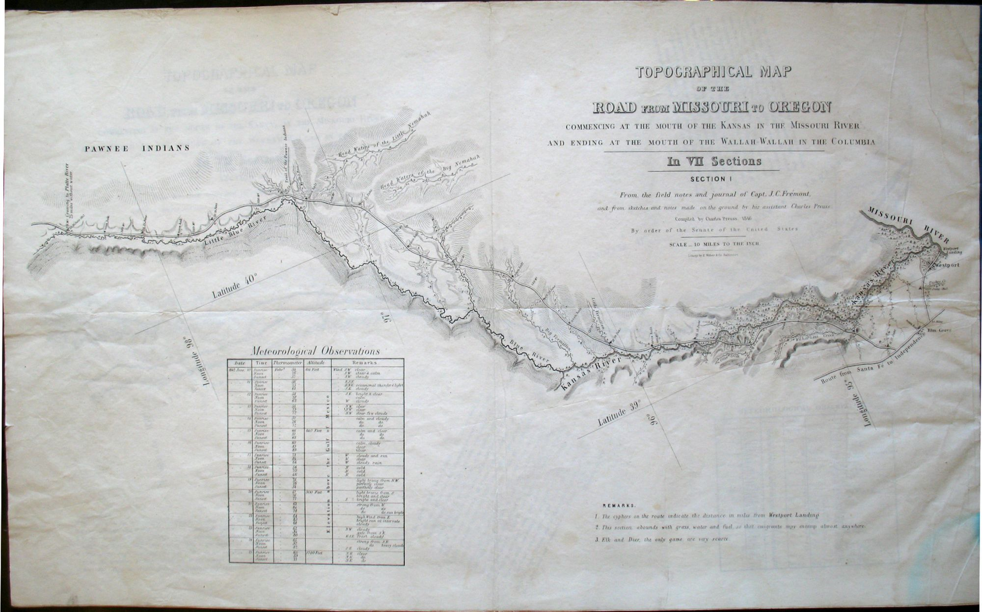 Topographical Map Of The Road From Missouri To Oregon Commencing - Topographical map of oregon