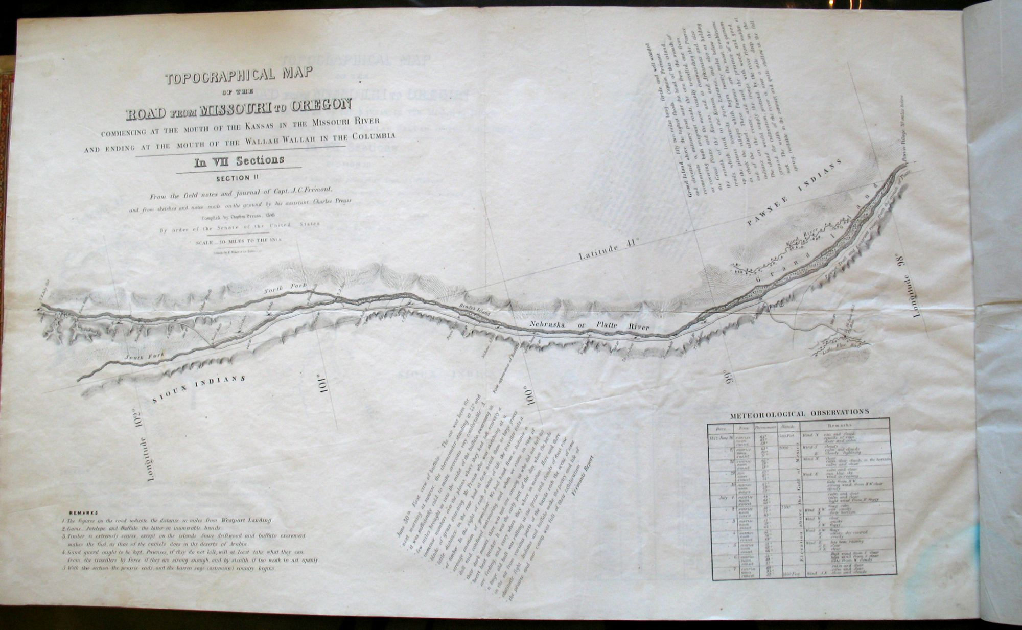 Topographical map of the road from Missouri to Oregon commencing