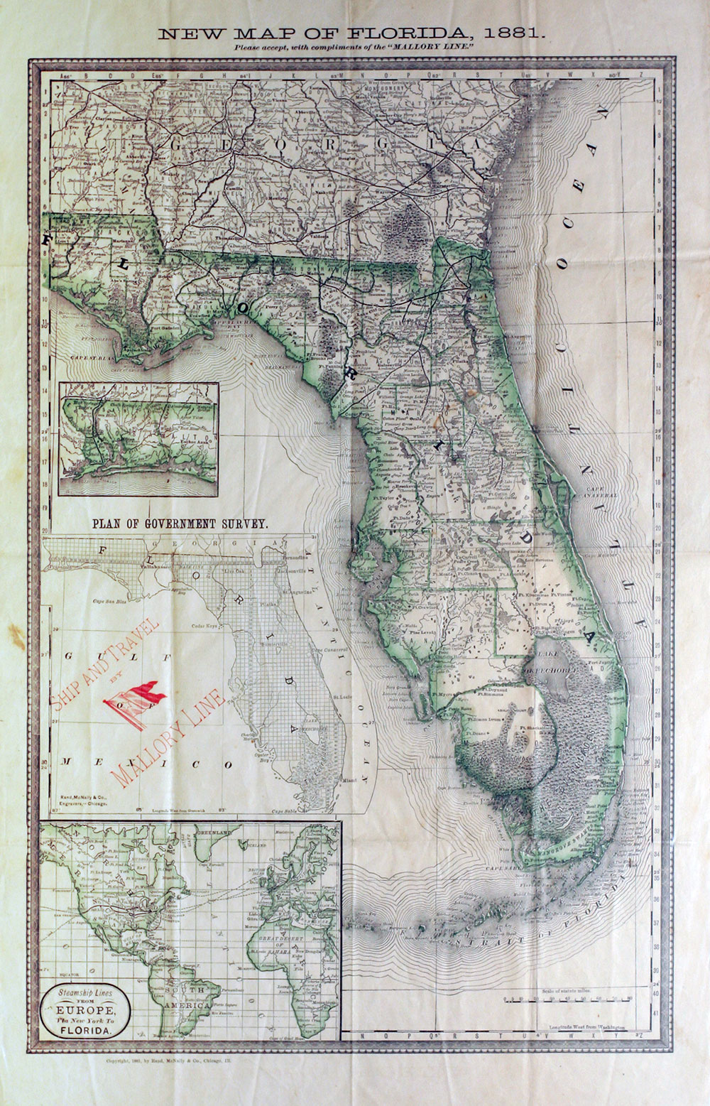 Florida Railroad Map.New Map Of Florida 1881 Florida Railroad