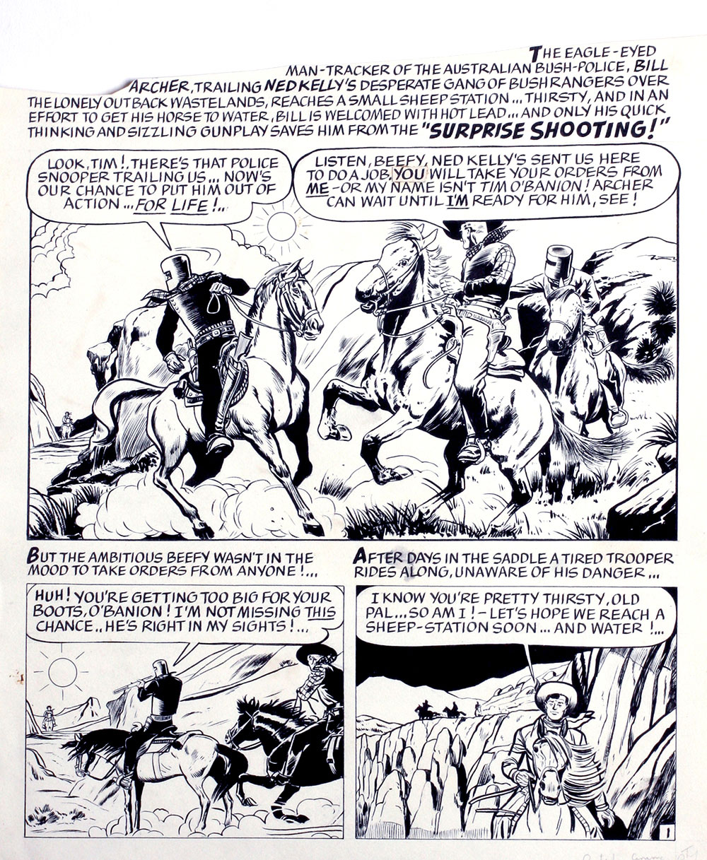 Ned Kelly gang, 1950s Manuscript layout of comic strip. Ned Kelly.