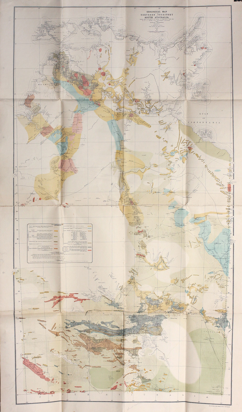 Map Of South Australia And Northern Territory.Geological Map Of The Northern Territory Of South Australia