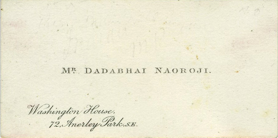 signed calling card of dadabhai naoroji the grand old man of india - India Calling Card