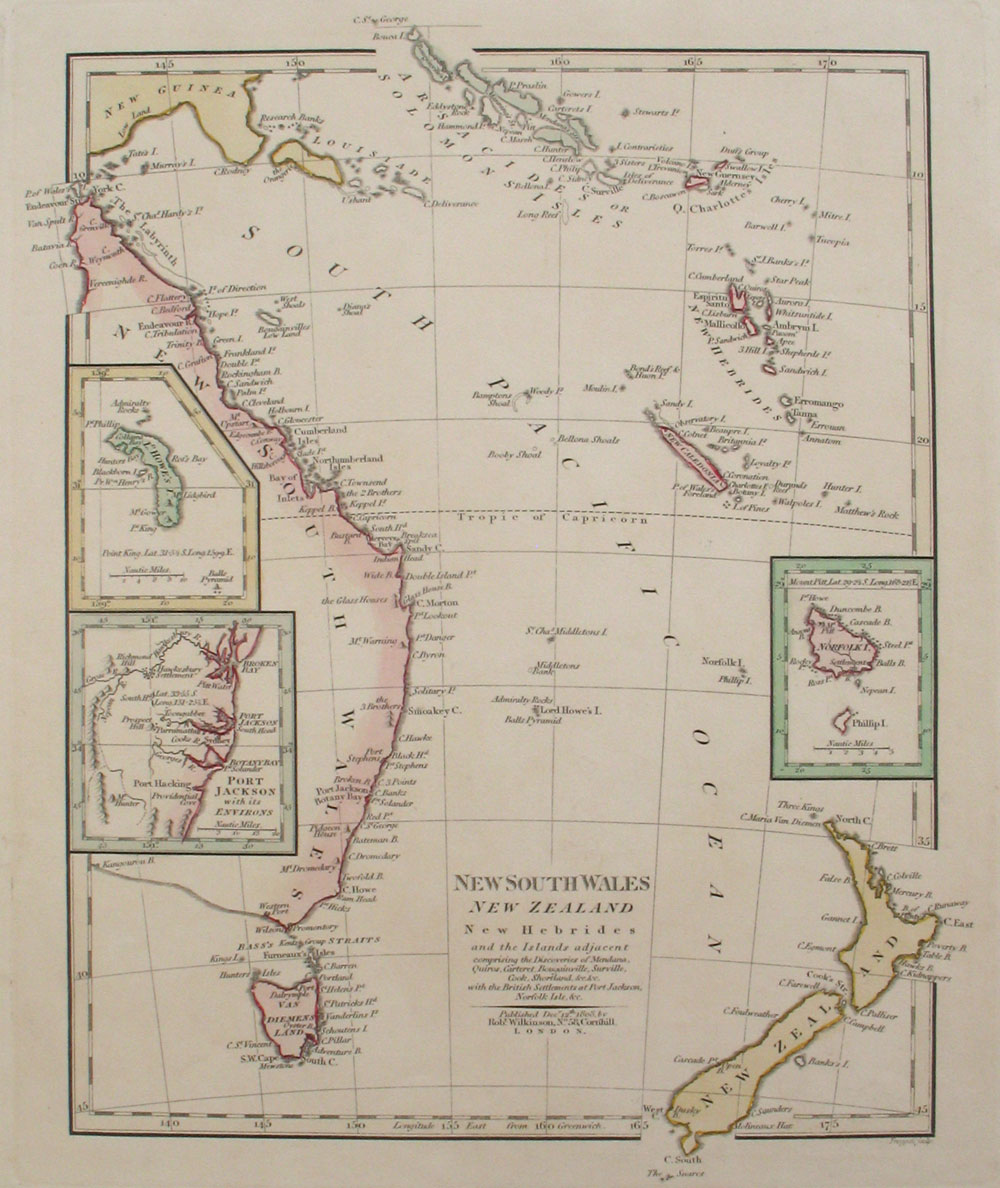 map new south wales new zealand new hebrides and the islands adjacent