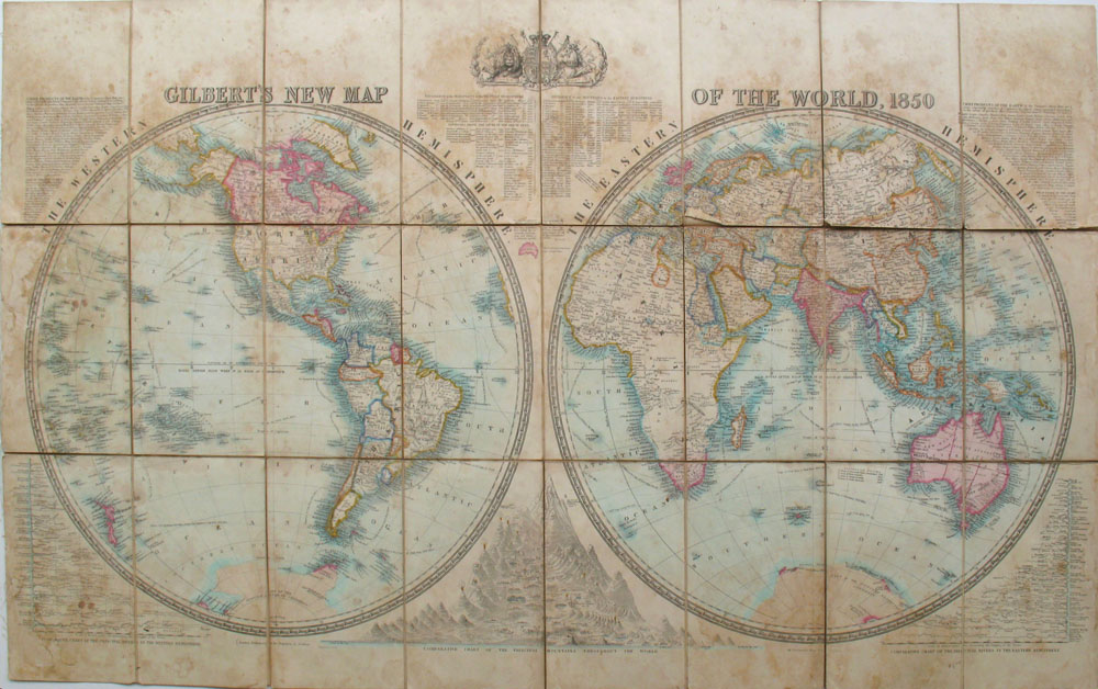 The New Map Of The World.Gilbert S New Map Of The World 1850 Dissected On Canvas James