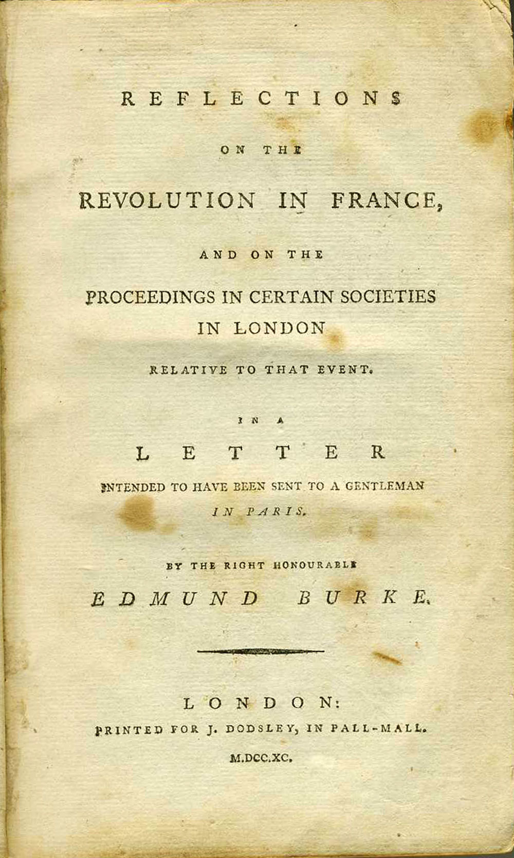Title page of Reflections on the Revolution in France by Edmund Burke.