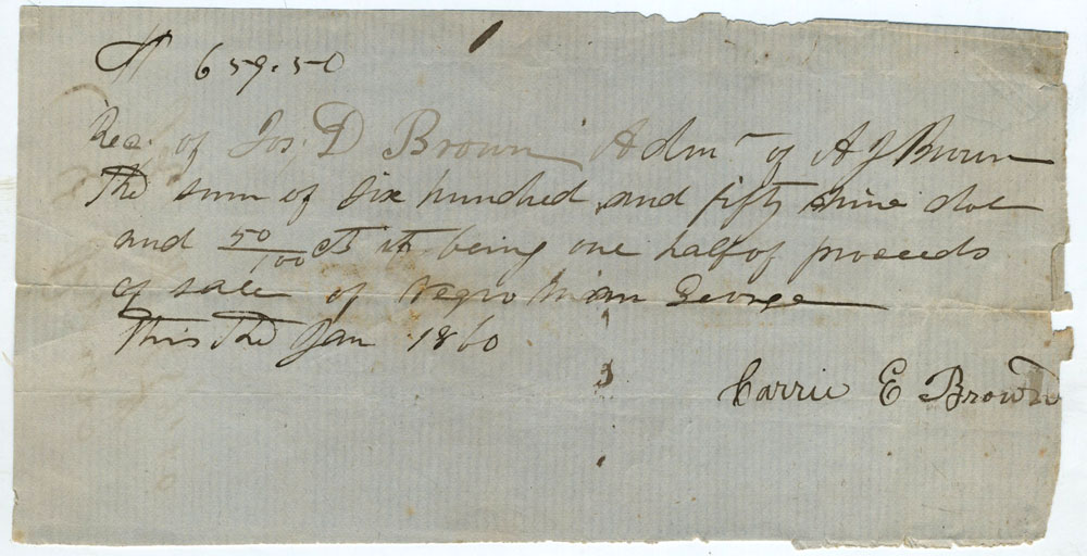 slave bill of sale between a j brown and carrie e brown of