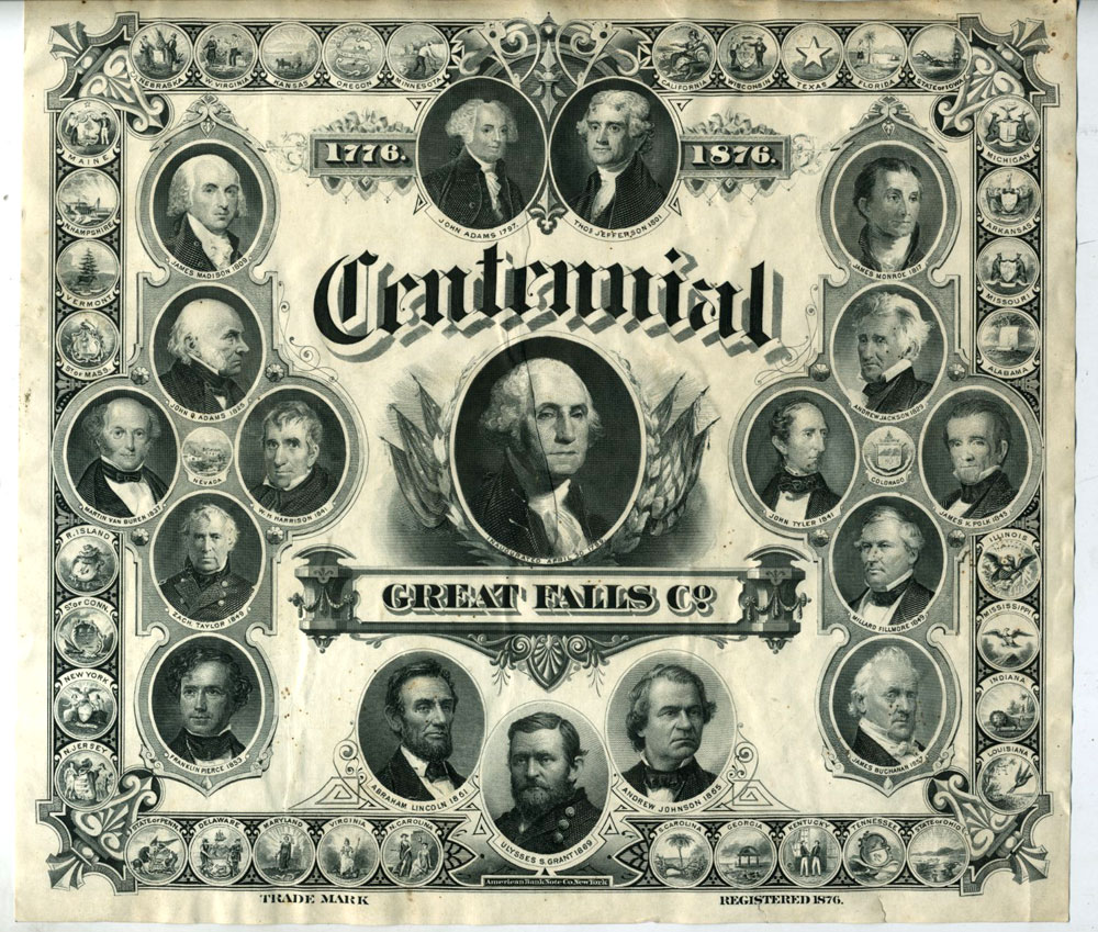 Bank Note Engraving: Centennial, Great Falls Co. 1776-1876 Trade Mark.