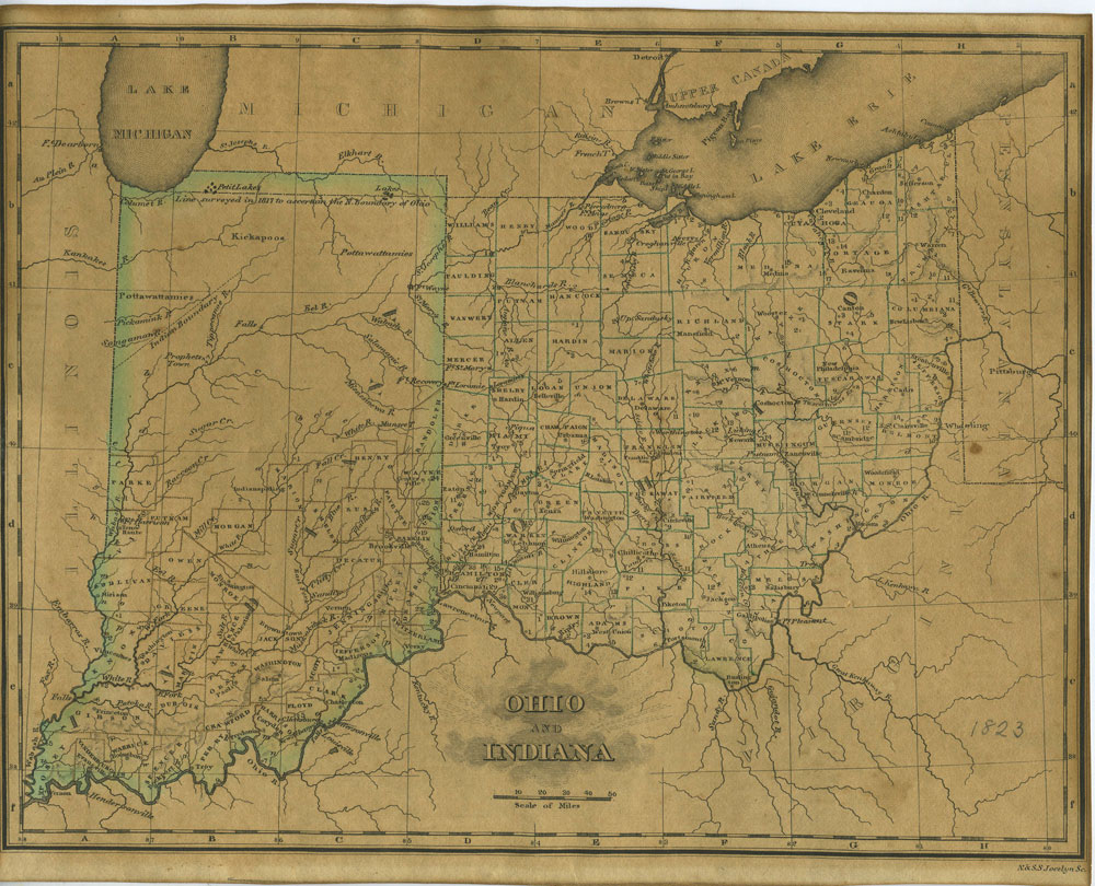 A Map of Ohio and Indiana from An Atlas of the United States, on an  Improved Plan;... with a complete index by Sidney E. Morse on Antipodean  Books
