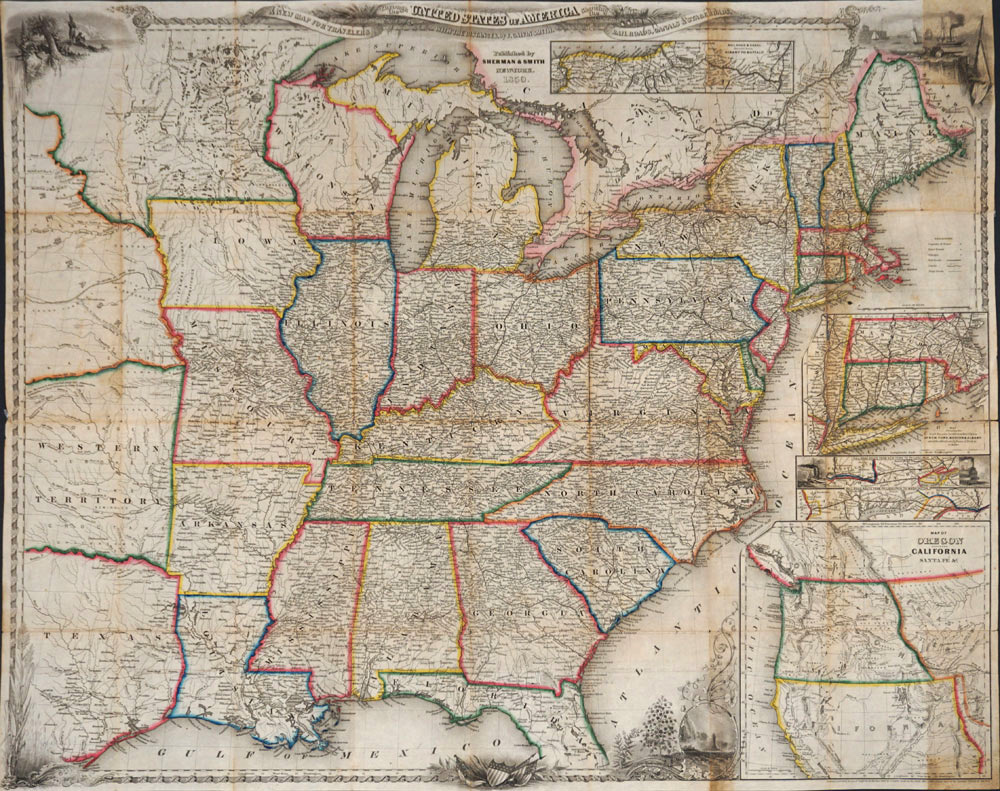 New Map Of America.A New Map For Travelers Through The United States Of America Showing The Railroads Canals Stage Roads Map By J Calvin Smith On Antipodean Books