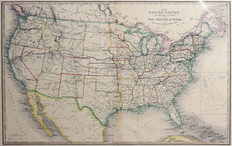 The United States and the Relative Position of the Oregon and Texas. James Wyld.