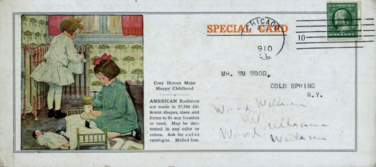Advertising card illustrated by Jessie Wilcox Smith, for the American Radiator Company, Chicago. Jessie Wilcox Smith.