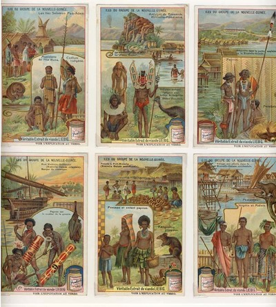 Iles du Groupe de la Nouvelle-Guinee. A set of 6 Liebig advertising cards. Liebig Advertising cards.