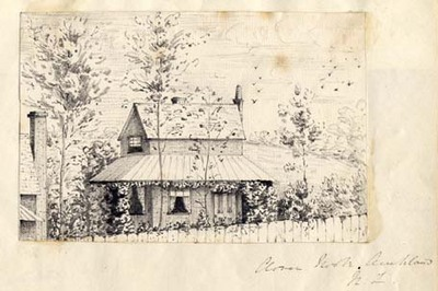 Clover Nook, Auckland N.Z. Original pencil sketch tipped on to a scrap album sheet, ca. 1860. New Zealand pencil sketch.