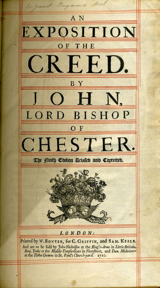 An Exposition of the Creed. Lord Bishop of Chester John, Pearson.