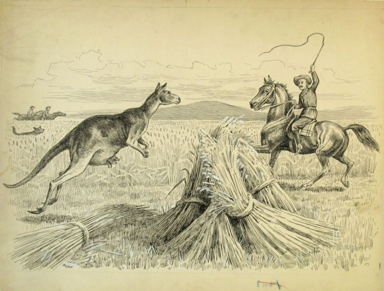 Boy's Hunting Book [with] the original pen and ink sketch for the kangaroo illustration. Children's, Walter Dunk, Kangaroo.