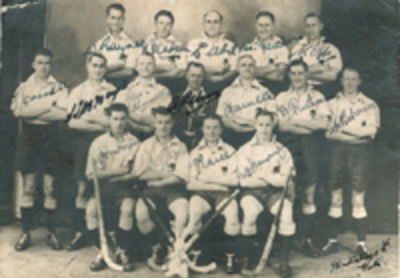 New South Wales State Hockey Team, ca. 1929. Thomas Pearce, George Hunell, Brian Monfries, W. McNeill.