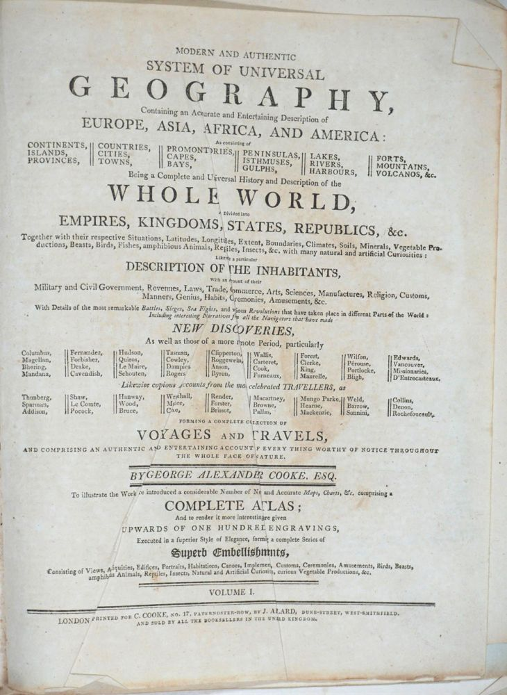 Modern and Authentic System of Universal Geography. Volumes I & II. George Alexander Cooke.
