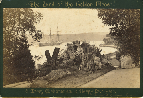 "Albumen photograph, Sydney Harbor from the Botanical Gardens, one of ""The Land of the Golden Fleece"""