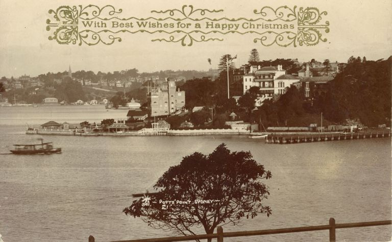 Potts Point, Sydney, real photograph printed as a Christmas card. Photographs: real photo postcard.