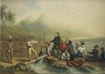 The Reception of the Rev. J. Williams at Tanna in the South Seas, the day before he was Massacred. George Baxter.