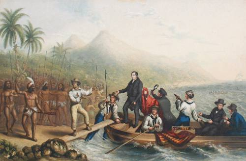 The Reception of the Rev. J. Williams at Tanna in the South Seas, the day before he was Massacred. George Baxter, publisher.