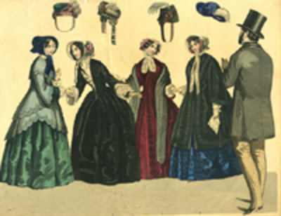 Fashion print of women & a man from the 1860's.