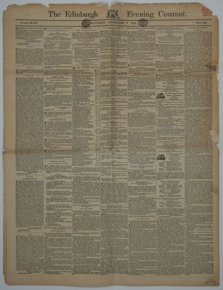 """Gold In Australia"" article in 1851 Edinburgh newspaper. Gold, Australia."