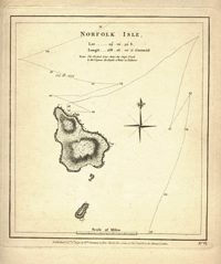 Norfolk Isle, Map. James Cook.