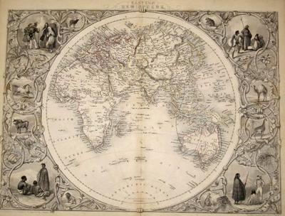 Eastern Hemisphere, antique map with vignette views | J. Tallis ...