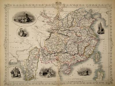 China and Birmah, antique map with vignette views. J. Tallis Rapkin, John.