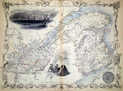 East Canada and New Brunswick, antique map with vignette views. J. Tallis Rapkin, John.