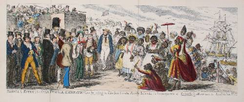 Probable Effects of Over Female Emigration, or Importing the Fair Sex from the Savage Islands in Consequence of Exporting all our own to Australia!!!!! George Cruikshank.