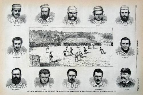 The Cricket Match between the Australians and the New Yorkers, with Portraits of the Australians. from Sketches and Photographs. Engraving. Cricket.
