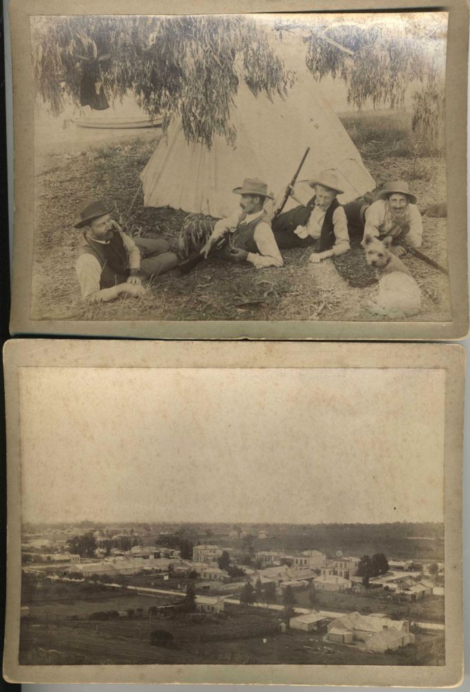 Albumen cabinet card photographs of a shooting party ca. 1890. Photography; Australia.