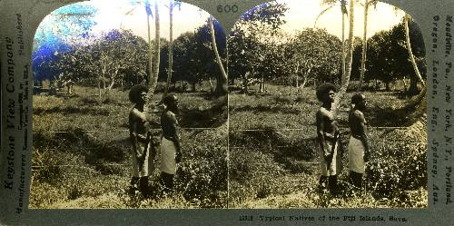 Stereoscopic view, Typical Natives of the Fiji Islands, Suva.
