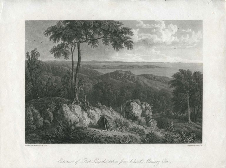 Entrance of Port Lincoln, taken from behind Memory Cove, from Flinders' Voyage. William Westall, A. R. A. F. L. S., John Pye.