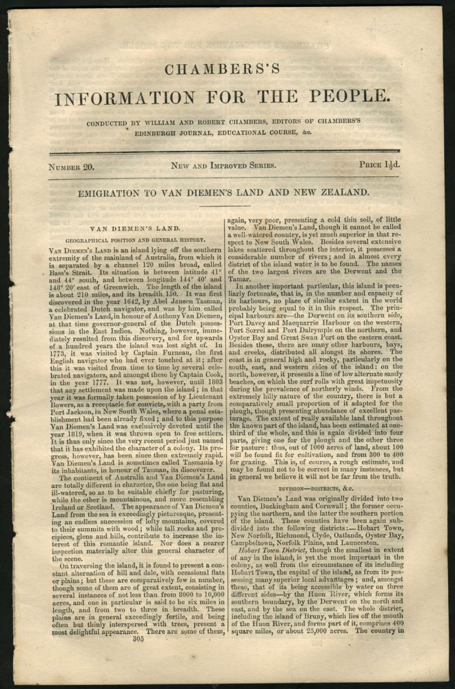 Chambers's Information for the People, Number 20, Emigration to Van Diemen's Land and New Zealand. William and Robert Chambers.