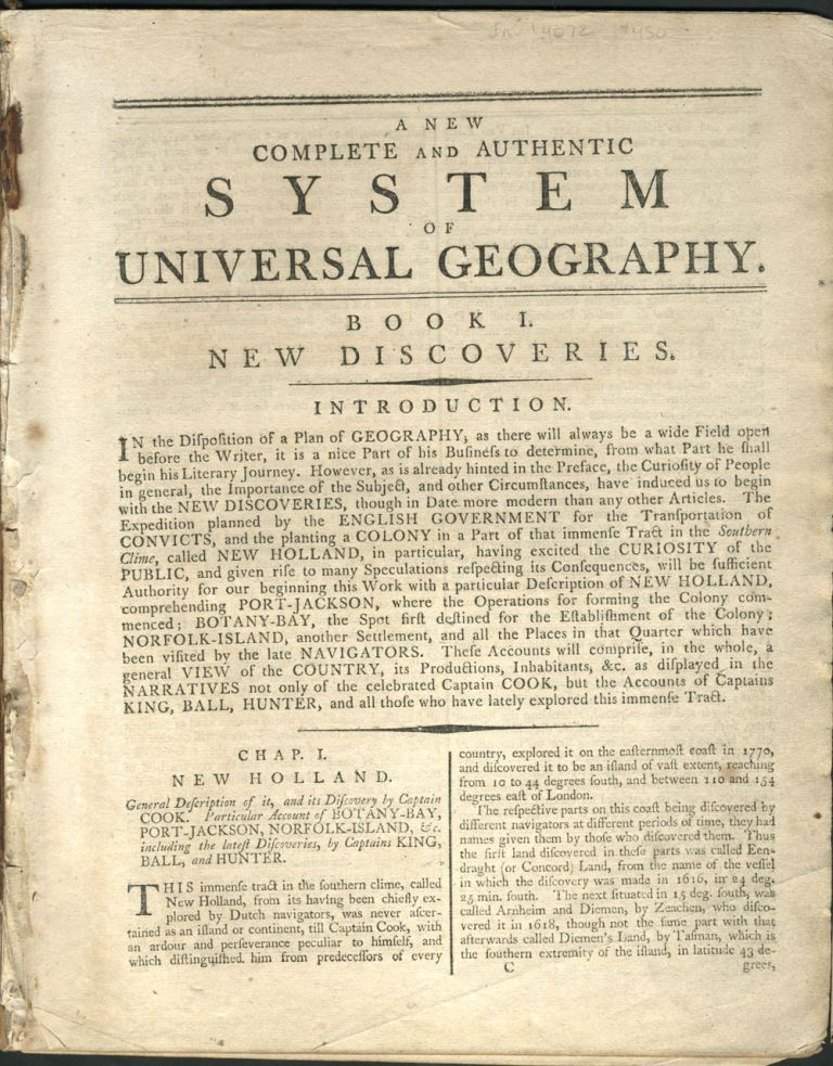 A New Complete and Authentic System of Universal Geography, Book I. New Discoveries, Chapter I. New Holland.