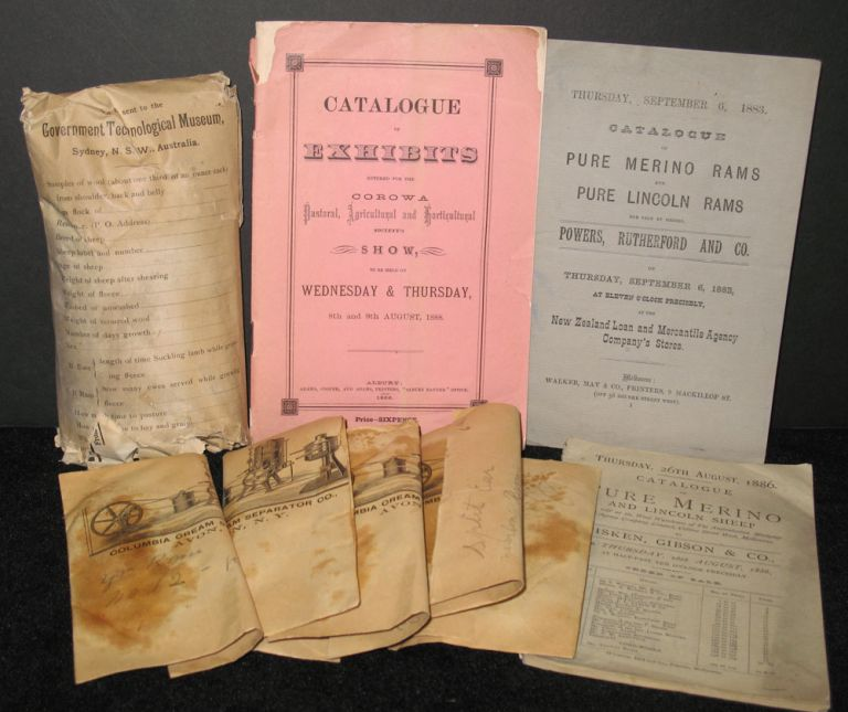 Archive of Wool and Catalogues for Merino & Lincoln Sheep auctions for 1883-1888.