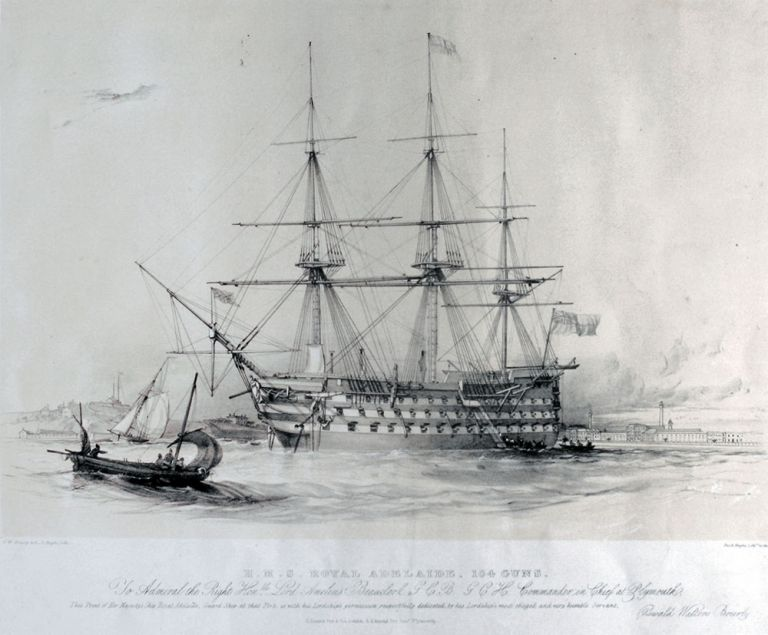 H.M.S. Royal Adelaide, 104 Guns. Oswald W. del L. Haghe lith Brierly.