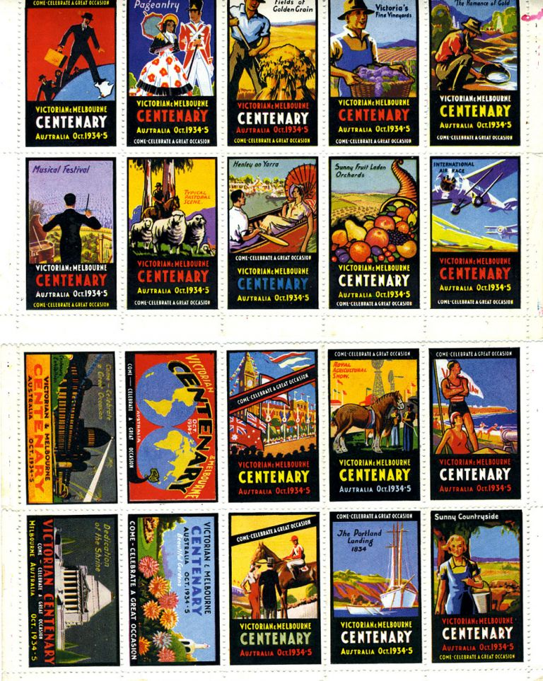 Full color Poster Stamps celebrating Victorian and Melbourne Centenary, October 1934-5. Victoria, Poster stamps.