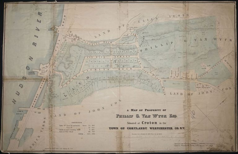 A Map of Property of Phillip G. Van Wyck Esq. Situated at Croton in the Town of Cortlandt Westchester Co., N.Y. Thomas C. Civil Engineer Cornell.