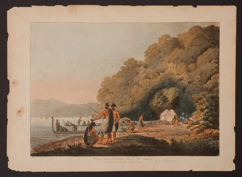 View in Queen Charlotte's Sound, New Zealand. John Webber.