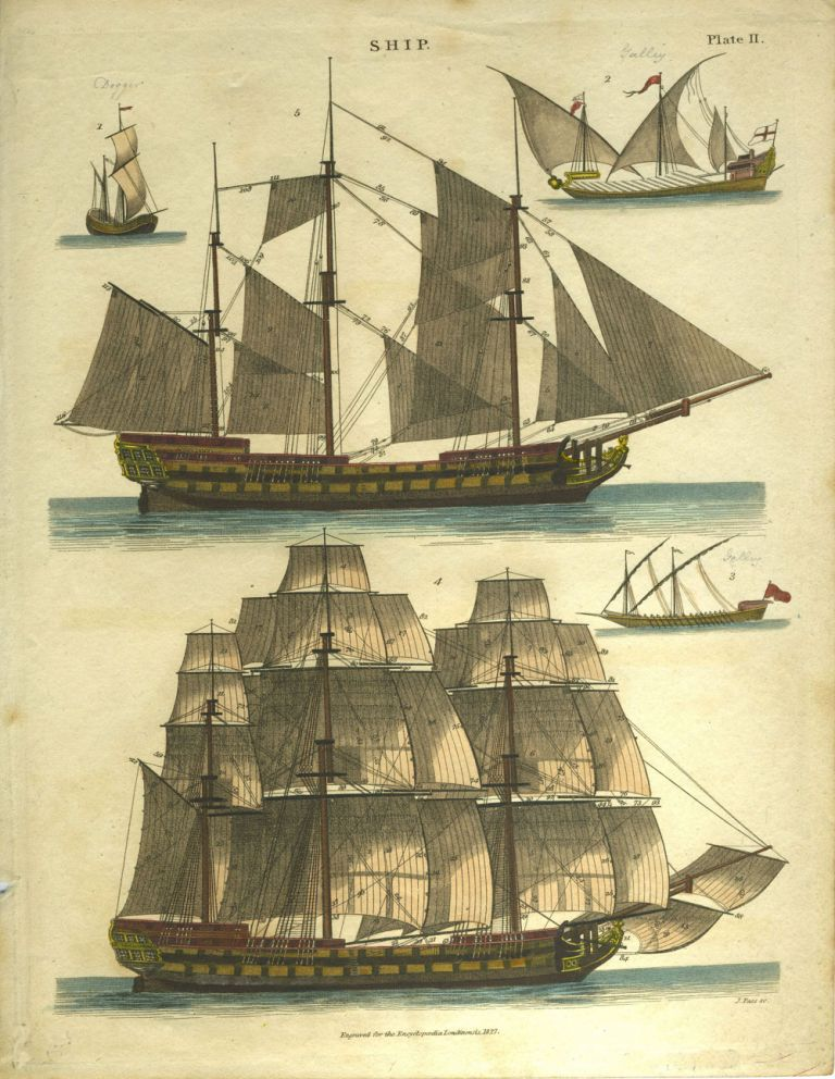 Pair of sailing ships, from Encyclopedia Londinensis 1827, Plate II and Plate III.