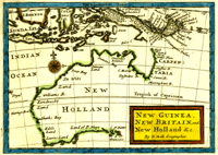 """Map of Australia entitled """"New Guinea, New Britain, and New Holland &c."""" from the Atlas Geographus: or, a Compleat System of Geography, (Ancient and Modern) for America. Containing What is of most Use in Bleau, Varenius, Cellarius, Cluverius, Luyts, Baudrand, Sanson, the Royal Commentaries of Peru, &c. Herman Moll, James Cook."""