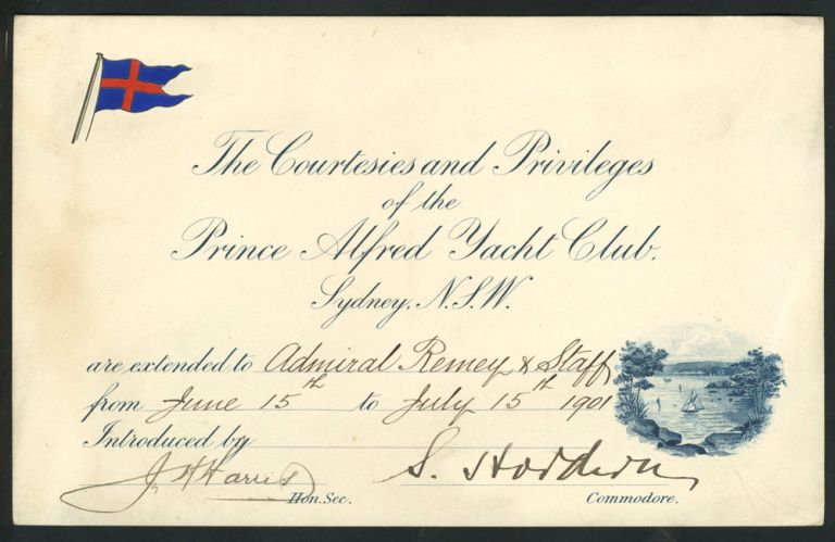 The Courtesies and Privileges of the Prince Alfred Yacht Club Sydney, N.S.W. Australian Federation.