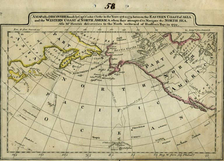 A Map of the Discoveries made by Capt.'s Cook & Clerke in the Years 1778 & 1779 between the Eastern Coast of Asia and the Western Coast of North America, when they attempted to Navigate the North Sea. Also Mr. Hearn's discoveries to the North westward of Hudson's Bay, in 1772. Mathew Carey, James Cook.