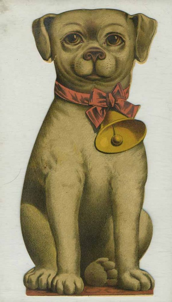 Bogue's Soap, die cut advertising card in shape of dog. China, Bogue's Soap trade card.